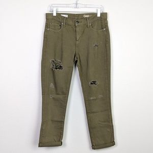 GAP Distressed Girlfriend Jeans in Olive Size 28